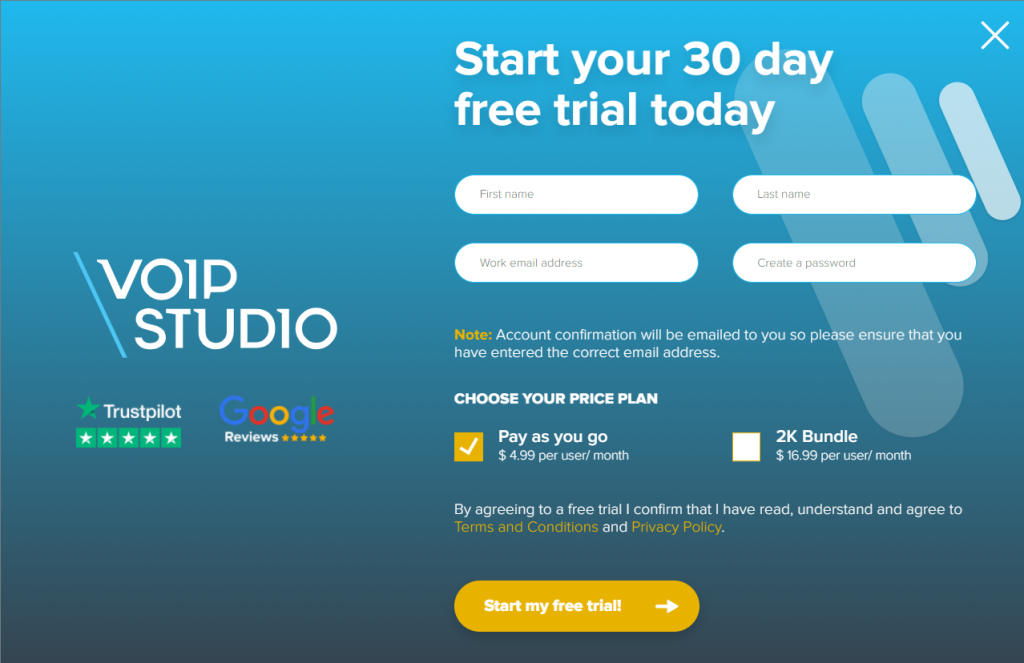 Create an account at VoIPstudio