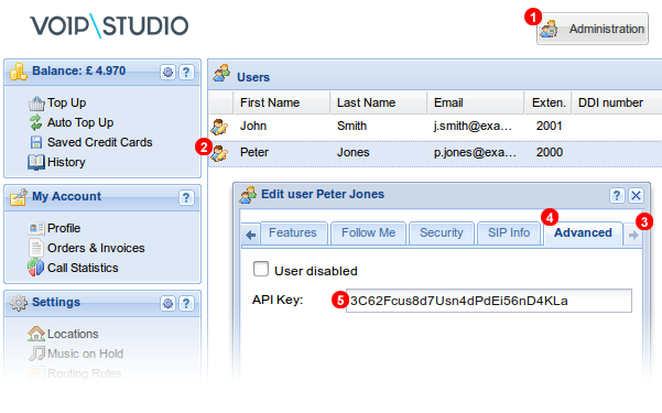 VoIP Studio API Key