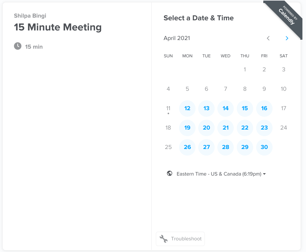 Scheduling app 2 - Calendly