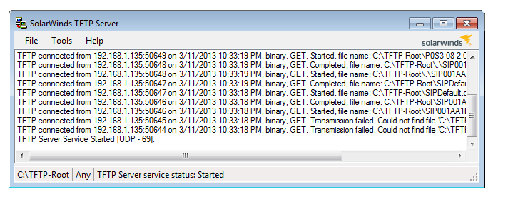 Solar Winds TFTP Server