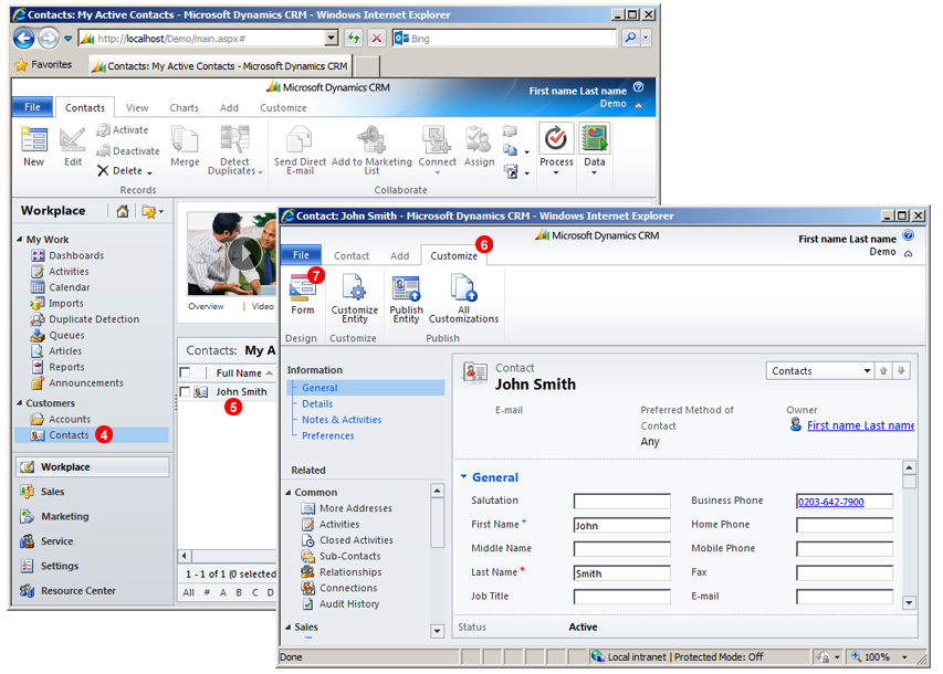 Microsoft Dynamics CRM Click to Call form customize