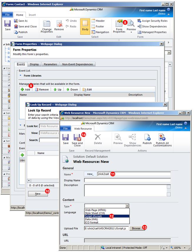 Microsoft Dynamics CRM IP PBX upload JavaScript
