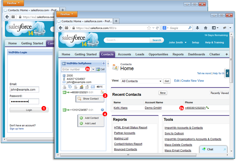 Salesforce Call Cetner - outbound call via VoIPstudio Hosted PBX