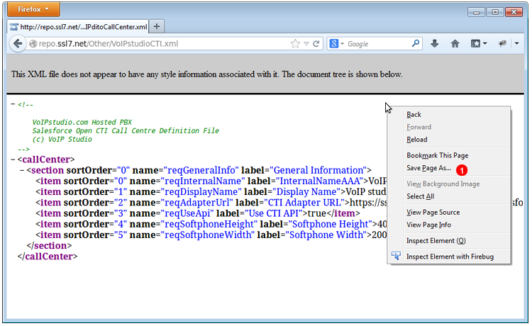 Salesforce VoIPStudio Call Cetner module - XML file definition