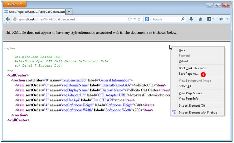 Salesforce VoIPstudio Call Cetner module - XML file definition